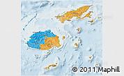 Political 3D Map of Fiji, lighten