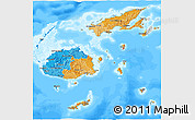 Political 3D Map of Fiji, semi-desaturated, land only
