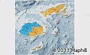 Political 3D Map of Fiji, semi-desaturated