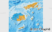 Political 3D Map of Fiji, shaded relief outside, bathymetry sea