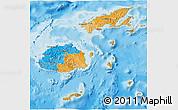 Political 3D Map of Fiji, single color outside