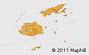 Political Shades 3D Map of Fiji, cropped outside