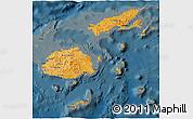 Political Shades 3D Map of Fiji, darken