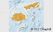 Political Shades 3D Map of Fiji, lighten