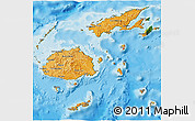 Political Shades 3D Map of Fiji, satellite outside, bathymetry sea