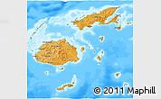 Political Shades 3D Map of Fiji, single color outside, bathymetry sea