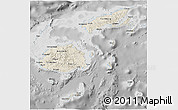 Shaded Relief 3D Map of Fiji, desaturated