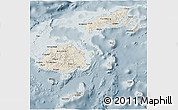 Shaded Relief 3D Map of Fiji, semi-desaturated