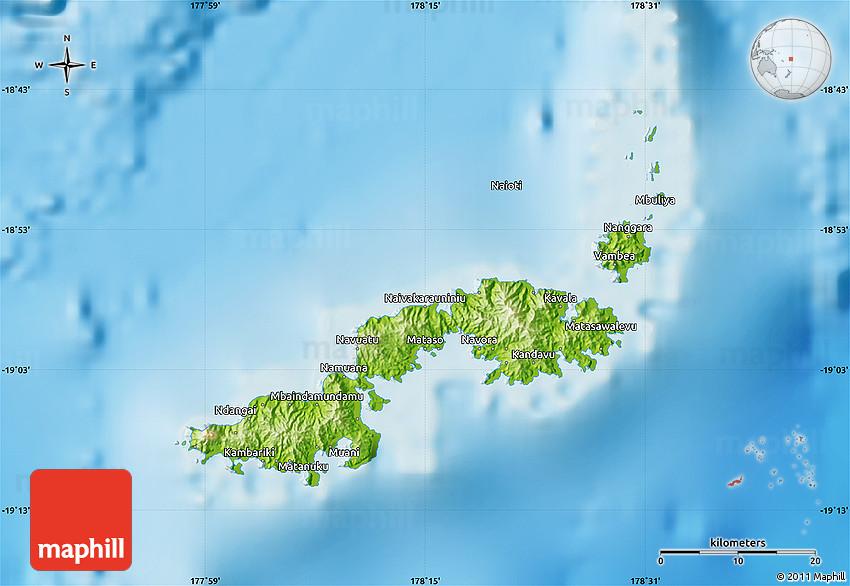 Physical Map Of Kadavu
