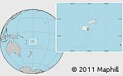 Blank Location Map of Fiji, gray outside