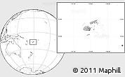 Gray Location Map of Fiji, blank outside, hill shading inside