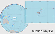 Gray Location Map of Fiji, hill shading inside