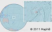 Gray Location Map of Fiji, hill shading outside