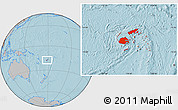 Gray Location Map of Fiji, hill shading