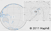 Gray Location Map of Fiji, lighten, desaturated, hill shading