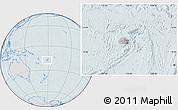 Gray Location Map of Fiji, lighten, hill shading