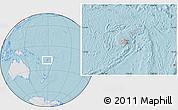 Gray Location Map of Fiji, lighten, land only, hill shading