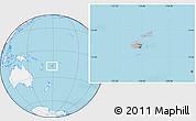 Gray Location Map of Fiji, lighten, land only