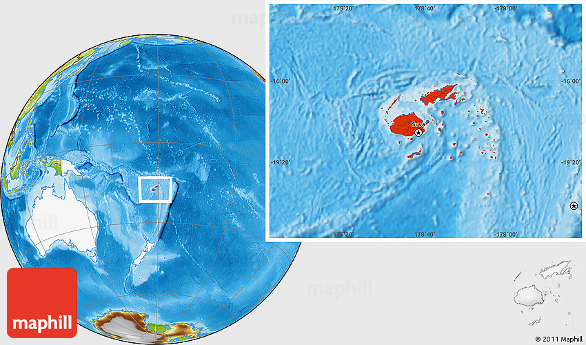 Physical location map of fiji highlighted continent 2d gumiabroncs Gallery