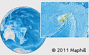 Physical Location Map of Fiji, lighten, desaturated, land only