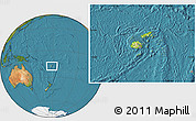 Physical Location Map of Fiji, satellite outside