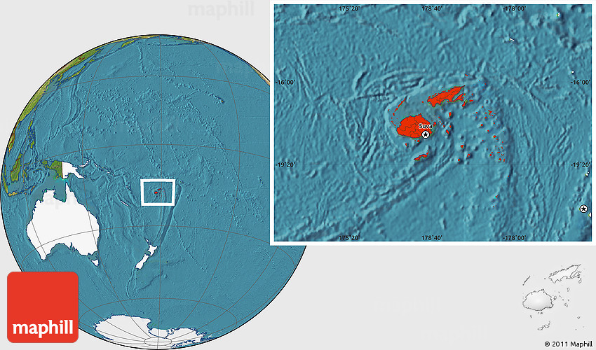 Satellite location map of fiji highlighted continent 2d gumiabroncs Gallery