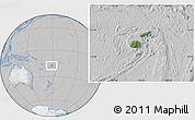 Satellite Location Map of Fiji, lighten, desaturated