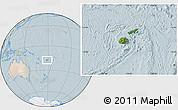 Satellite Location Map of Fiji, lighten