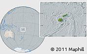 Satellite Location Map of Fiji, lighten, semi-desaturated
