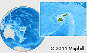 Satellite Location Map of Fiji, shaded relief outside