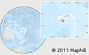 Shaded Relief Location Map of Fiji, lighten