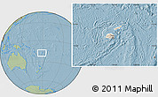 Shaded Relief Location Map of Fiji, savanna style outside, hill shading