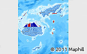 Flag Map of Fiji, single color outside, bathymetry sea