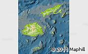 Physical Map of Fiji, darken