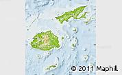 Physical Map of Fiji, lighten