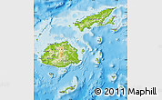 Physical Map of Fiji, political outside, shaded relief sea