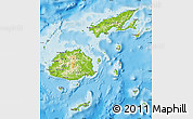 Physical Map of Fiji, political shades outside, shaded relief sea