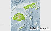 Physical Map of Fiji, semi-desaturated