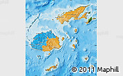 Political Map of Fiji, satellite outside, bathymetry sea