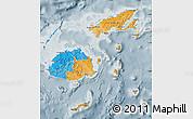 Political Map of Fiji, semi-desaturated