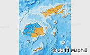 Political Map of Fiji, shaded relief outside, bathymetry sea