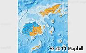 Political Map of Fiji, single color outside