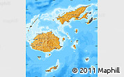 Political Shades Map of Fiji, darken, land only