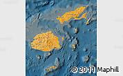 Political Shades Map of Fiji, darken