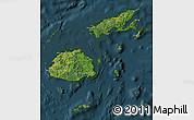 Satellite Map of Fiji, darken
