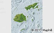 Satellite Map of Fiji, lighten