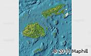 Satellite Map of Fiji, political shades outside, satellite sea