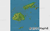 Satellite Map of Fiji, semi-desaturated, land only