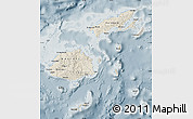 Shaded Relief Map of Fiji, semi-desaturated