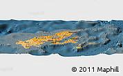 Political Shades Panoramic Map of Northern, darken